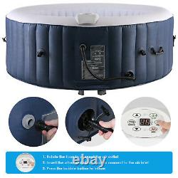 4 Person Inflatable Hot Tub Jets Spa with Tub Cover Built in Heater, 71x26.5