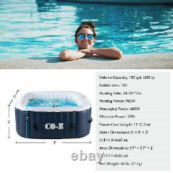 4-Person Square Inflatable Hot Tub w 120 Bubble Jets for Patio Backyard and More