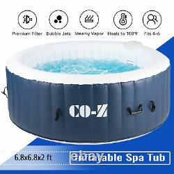 6.8x6.8ft Inflatable Jacuzzi w Heater & 140 Massaging Jets for Backyard & More