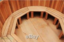 6' Hot Tub Wood-Fired Heater Round Outdoor Spa Red Cedar Non-electric Cover New