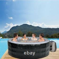 6 Person Portable Inflatable Hot Tub Jet Spa With Cover Round 265 Gallon Black