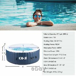6'x6' Inflatable Spa Tub w Heater & 120 Massaging Jets for Patio Backyard & More