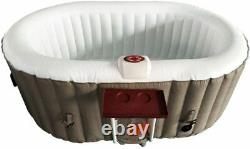 ALEKO HTIO2BRWH Oval Inflatable Hot Tub Spa with Drink Tray and Cover, 2 Person