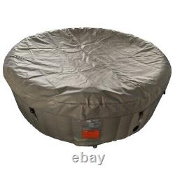 ALEKO Round Inflatable Hot Tub Spa With Cover 4 Person 210 Gallon Brown/White