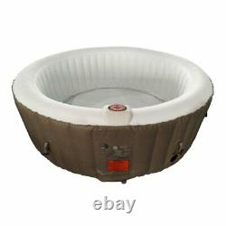 ALEKO Round Inflatable Hot Tub With Cover 4 Person Brown and Brown