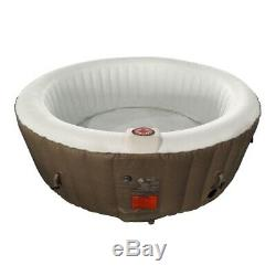 ALEKO Round Inflatable Hot Tub With Cover 6 Person 264 Gallon Brown and White