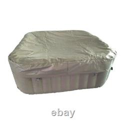 ALEKO Square Inflatable Hot Tub With Cover 6 Person 250 Gallon Brown and White