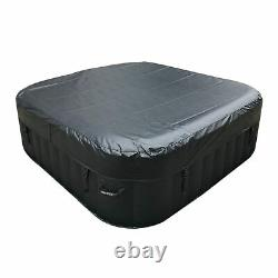 ALEKO Square Inflatable Jetted Hot Tub Spa With Cover 6 Person 265 Gallon Black