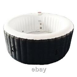 Aleko 265 Gallon 6 Person Round Inflatable Jetted Hot Tub with Fitted Cover, Black