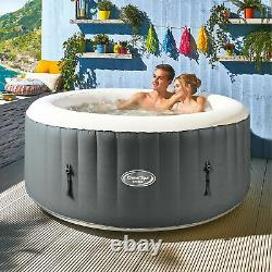 CleverSpa Shades 800 Liter 70 inch 4 Person Inflatable Round Hot Tub Spa, Gray