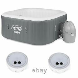 Coleman SaluSpa 4 Person Inflatable Outdoor Hot Tub & Multi-Colored LED Light