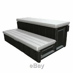 Confer Leisure Accents 36 Long Deluxe Deck Patio Spa Hot Tub Step, Gray & Black