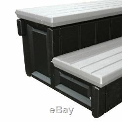 Confer Plastics 36 Inch Resin Spa and Hot Tub Storage Compartment Steps, Gray