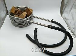 Hot tub heater coil with 2 x two metres of high temp hose stainless steel