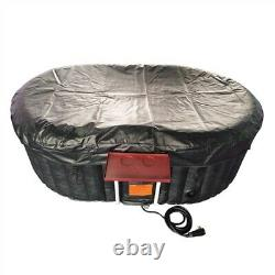 Inflatable Hot Tub Spa 2 Person Bubble Massage Jets Black Oval With Cover And Tray
