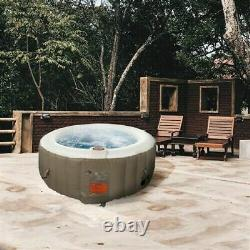 Inflatable Hot Tub Spa 71 in 4 Person Bubble Massage Jets Round Brown With Cover