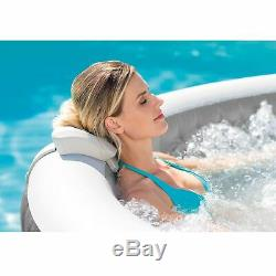 Intex 28439E Greywood Deluxe 4 Person Inflatable Hot Tub Bubble Jet Spa, Grey