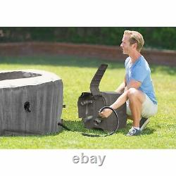 Intex Greywood Deluxe 4 Person Inflatable Hot Tub Bubble Jet Spa, Grey (Used)