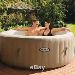 Intex PureSpa 4-Person Inflatable Jet Spa Hot Tub with Inflatable Headrest Pillow