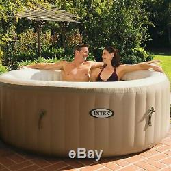 Intex PureSpa 77 Inch 4 Person Inflatable Round Hot Tub Spa with Bubble Jets