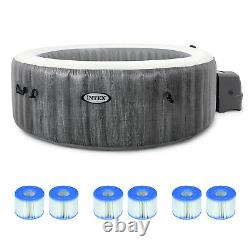 Intex PureSpa Greywood Deluxe 6 Person Hot Tub with 6 Type S1 Filter Cartridges