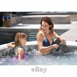 Intex PureSpa Greywood Deluxe 6 Person Portable Inflatable Hot Tub Jet Spa, Gray