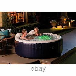 Intex PureSpa Plus 4 Person Inflatable Hot Tub Bubble Jet Spa, Navy (For Parts)