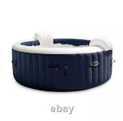 Intex PureSpa Plus 4 Person Portable Inflatable Hot Tub Bubble Jet Spa Navy, New