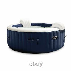 Intex PureSpa Plus 4 Person Portable Inflatable Hot Tub Jet Spa, Navy (Used)