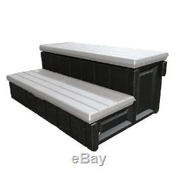Leisure Accents 36 Inch Deck Patio Spa Hot Tub Storage Compartment Steps, Gray