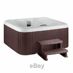 Life Smart 4 Person Plug & Play Square Hot Tub Spa with 20 Jets and Cover, Brown