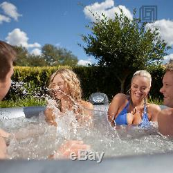 MSPA Lite Silver Cloud Inflatable Hot Tub Round 6-Person Outdoor Massage Spa