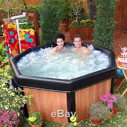 Portable Hot Tub Massage Wood Acrylic Spa Jacuzzi Bubble 5 Person Thermal Cover