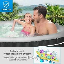 Portable Hot Tub Spa Inflatable 4 Person Massage Pool Heated Tubs Bubble Gray
