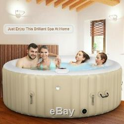 Portable Inflatable Bubble Massage Spa Hot Tub 4 Person Relaxing Outdoor Beige