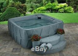 SPRING SALE 5 PERSON HOT TUB w LOUNGER- 29 JETS- PLUG n PLAY OZONE GREY