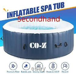 Secondhand 4-Person Inflatable Spa Tub w 120 Jets & Hot Tub Cover for Backyard