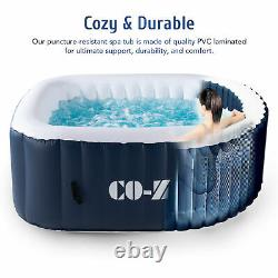 Secondhand 5'x5' Inflatable Hot Tub Portable Jacuzzi with120 Jets & Air Pump good