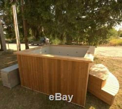 Wooden hot tub wood fired